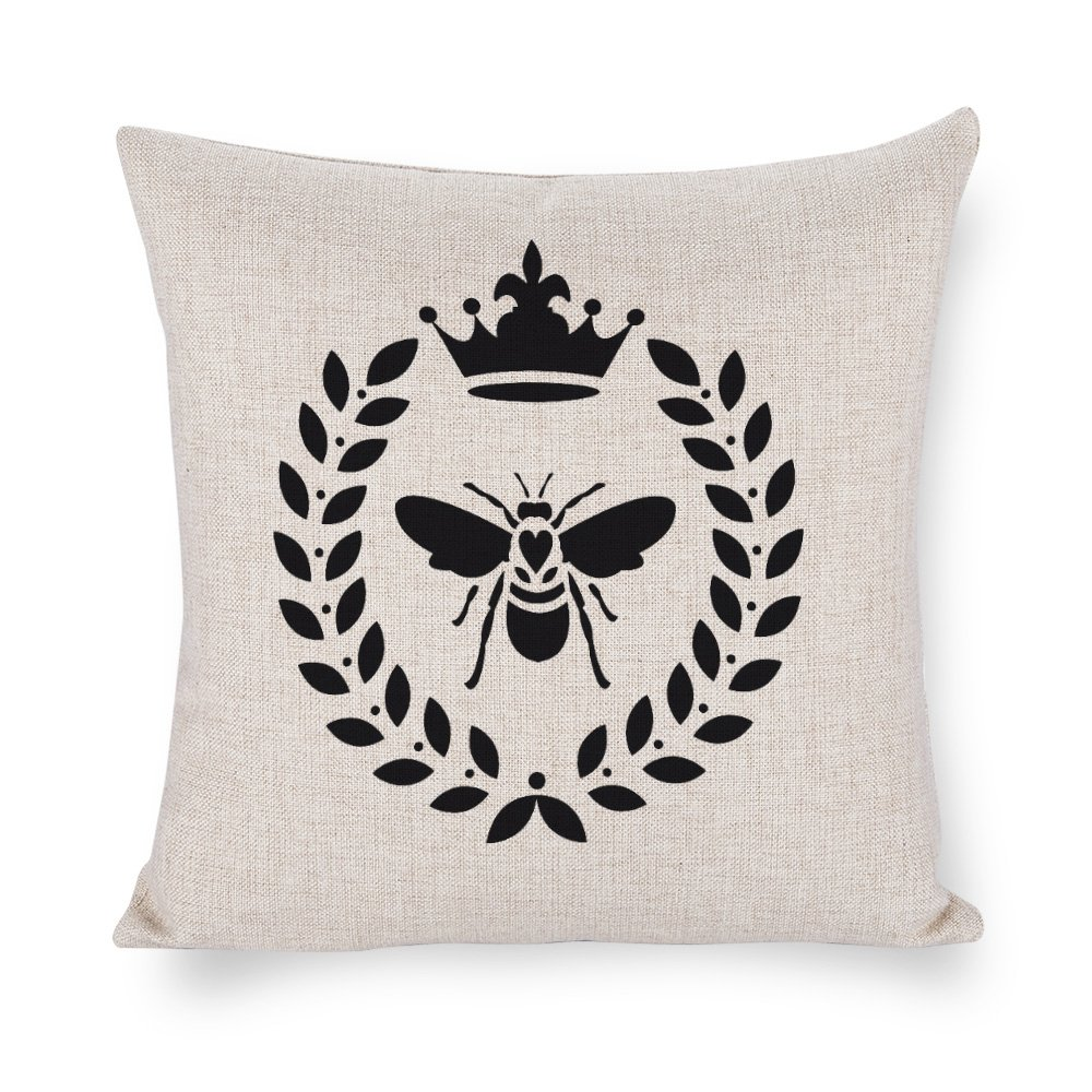 Tina-R Throw Pillow Case Bee Laurel Wreath Cotton Linen Cushion Cover Home Indoor Decorative Square 18X18 inches Tina Judson