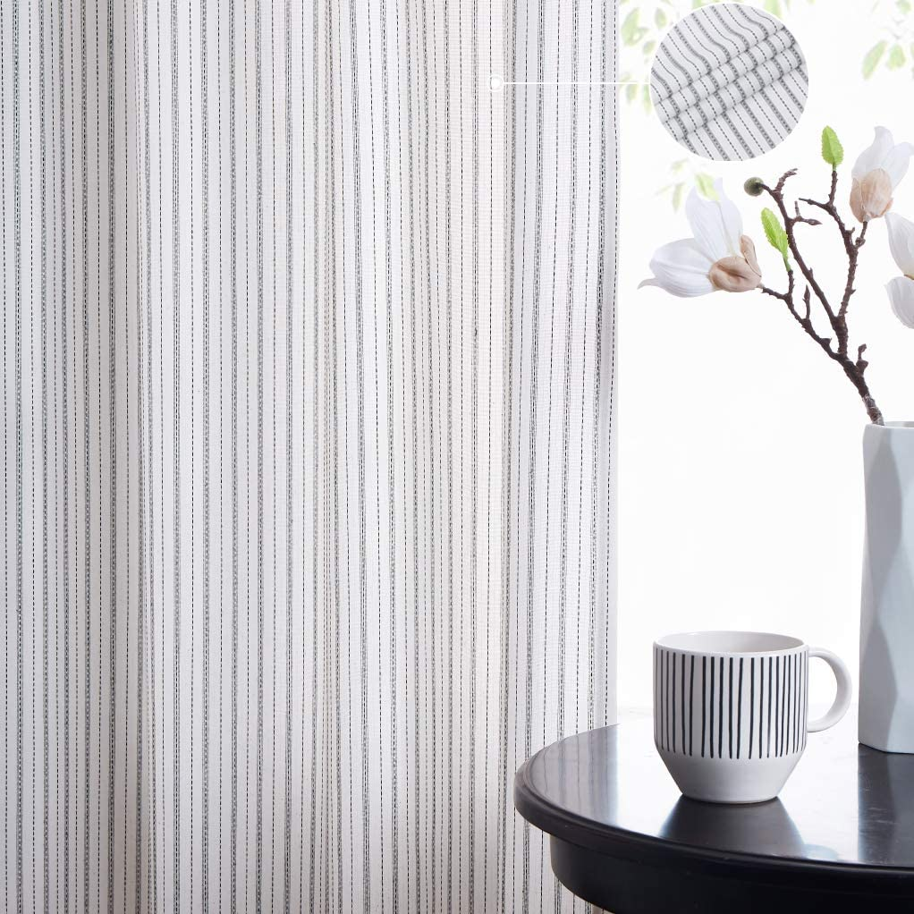 SXZJTEX Pinstripe Curtain Panels Living Room Drapes, Rod Pocket Farmhouse Panels for Bedroom, 40 Inch Wide x 84 Inch Long, 2 Pcs, White/Black