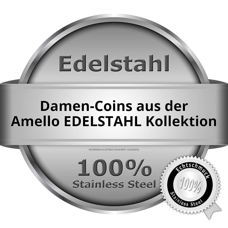 Amello Edelstahl Coin Zirkonia grau für Coinsfassung Edelstahlschmuck ESC301K