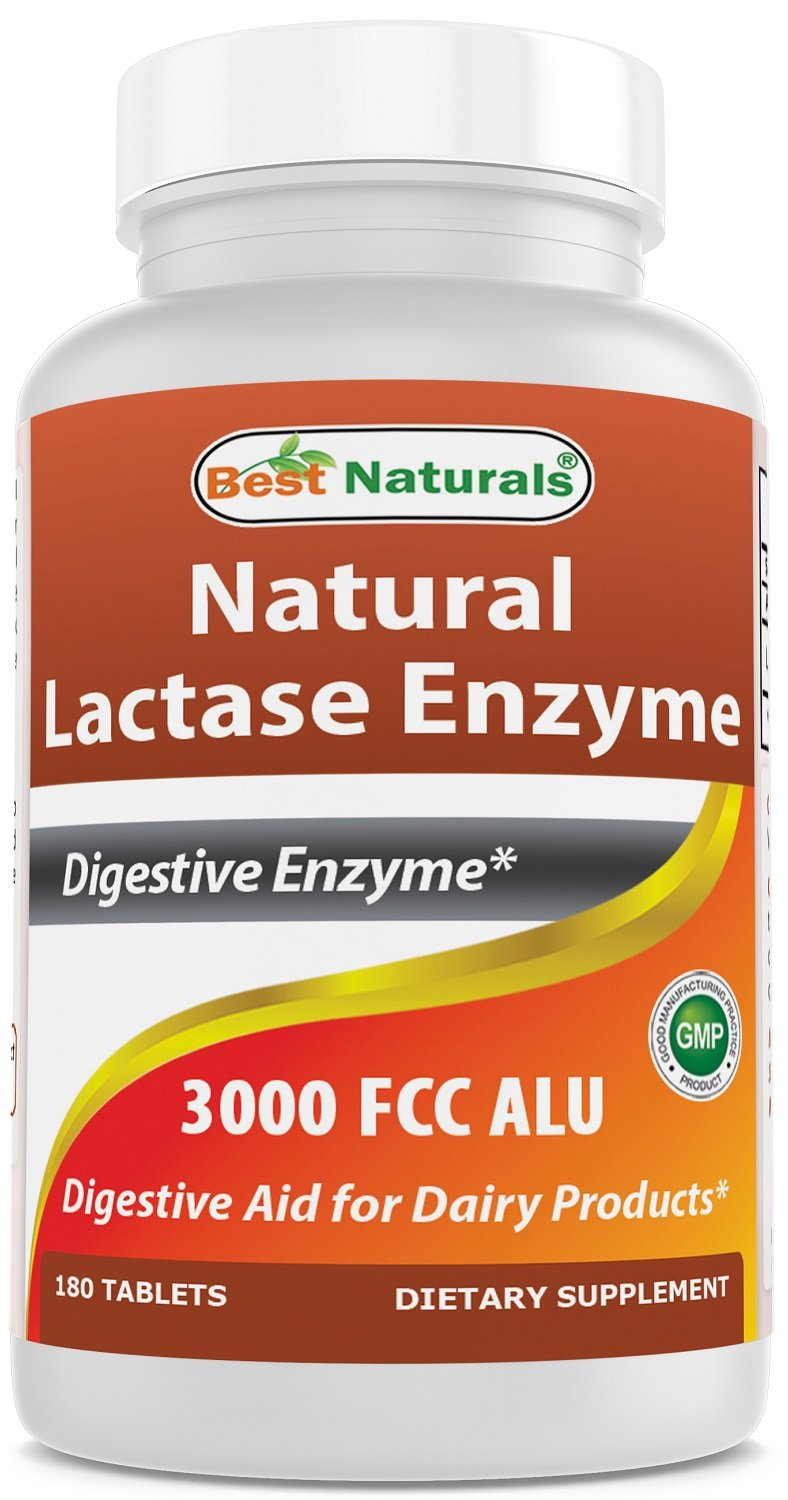 Best Naturals Fast Acting Lactase Enzyme Tablet, 3000 Fcc Alu, 180 Count by Best Naturals