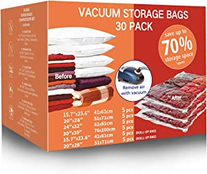 VacPack Space Saver Bags 30-Pack Vacuum Storage Compression Bags (5 Jumbo, 5 Large, 5 Medium, 5 Small, 5 Suitcase Travel Bags, 5 Carry-on Travel Bags and 1 Free Hand Pump)
