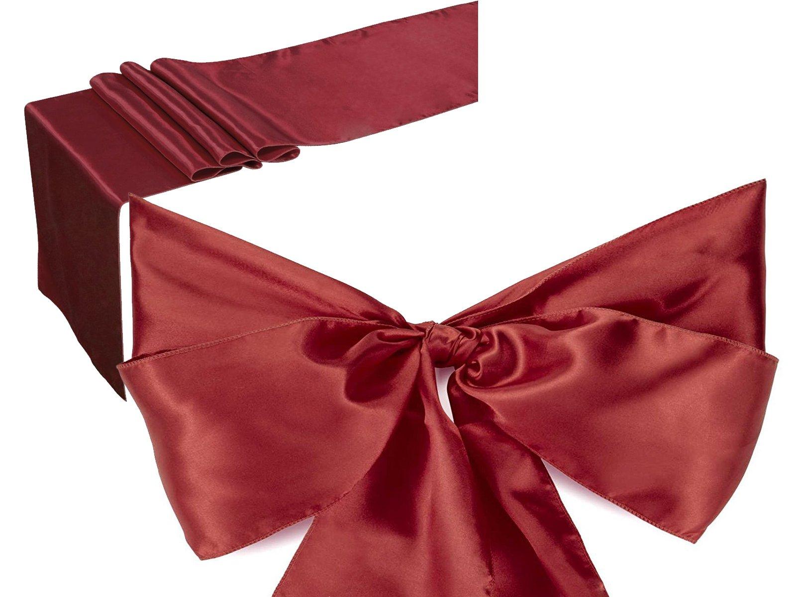 Elina Home Burgundy Satin 5 Table Runner & 25 Combo of TableRunner & Chair Bow Sash for Wedding