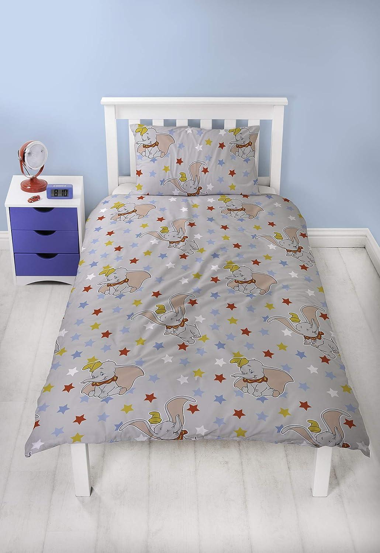 Dumbo Parure de lit pour Enfant avec Housse de Couette et taie doreiller Motif Cirque Bleu