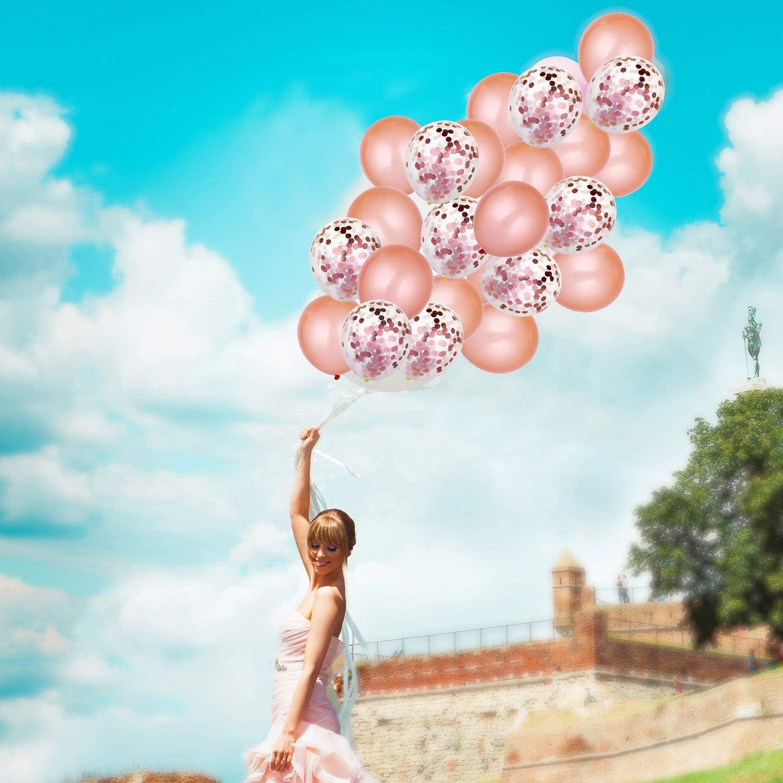 Ros/égold-Party-Deko-Set 20 St/ück Ballons und 2 Rollen Folienband f/ür Partybedarf bestehend aus 2 St/ück 3 von 8 ft Folie Fringe-T/ürvorh/änge Rotgold-Konfetti 12 x 108 Zoll Pailletten-Tischl/äufer