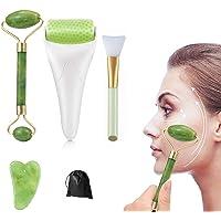 Rodillo Masajeador Facial de jade, facial Gua Sha, Ice Roller for Face y Eye, cepillo de mascarilla de silicona, Cuidado…