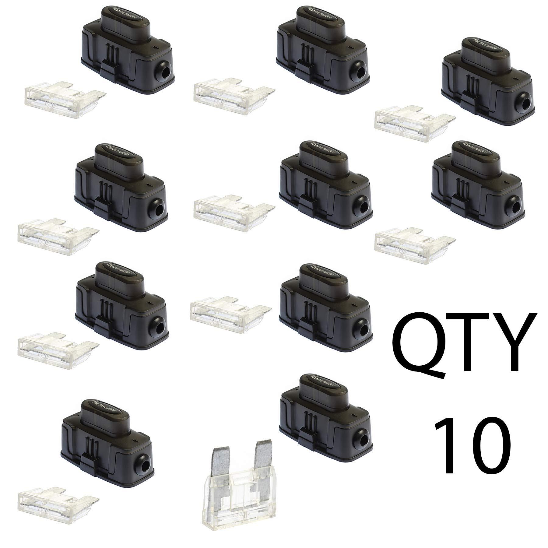 VOODOO Maxi Inline Fuse Holder Fuseholder Install Bay 4 6 8 Gauge 80 Amp (10 Pack)