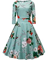 V Fashion 1950's Long Sleeve Vintage Floral Cocktail Party Dress Spring Garden Tea Dress with Defined Waist Design
