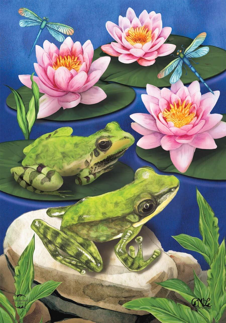 Briarwood Lane Frog Pond Summer Garden Flag Lily Pads 12.5