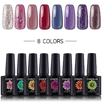 Amazon.com: Coscelia 8 Colors Soak Off UV Gel Nail Polish Set Nail ...