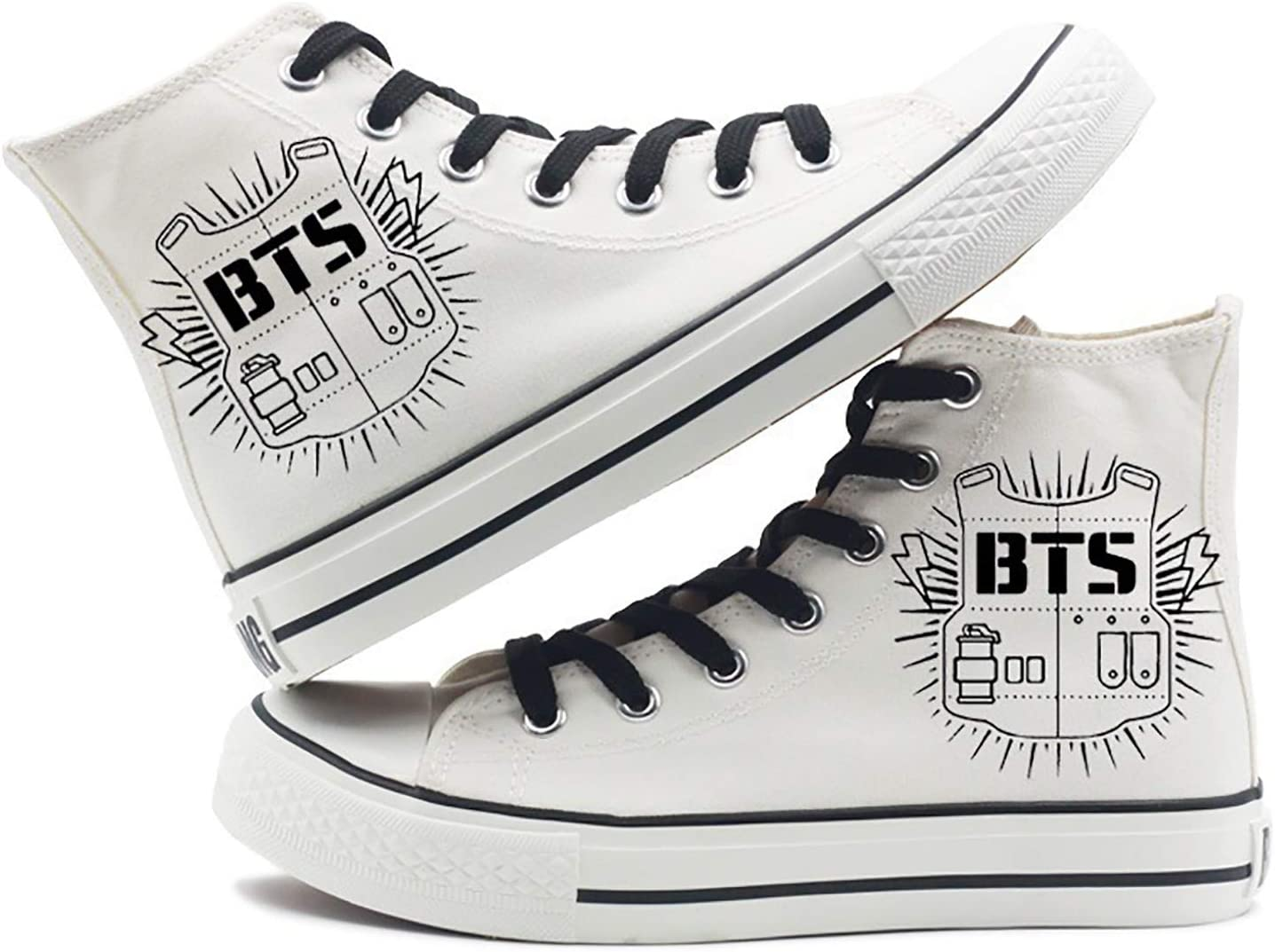 Kpop BTS Cartoon High-top Sneakers SUGA Jimin JIN V Black Sports Canvas Shoes