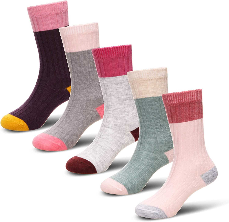 Eocom 5 Pairs Childrens Winter Warm Wool Animal Crew Socks Kids Boys Girls Socks