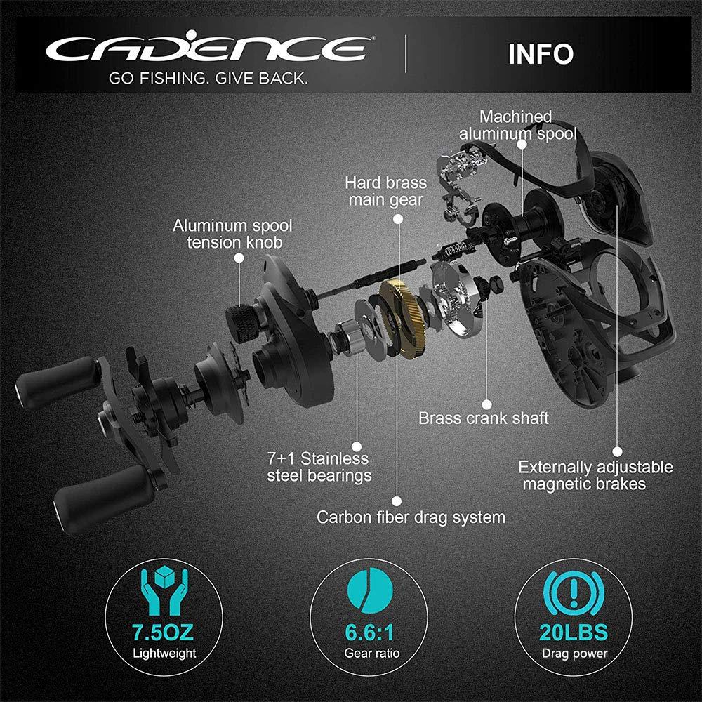 Cadence CB5 Baitcasting Reels Lightweight Graphite Frame Fishing Reels with 8 Corrosion Resistant Bearings Baitcaster Reels Carbon Fiber Drag Baitcast Reels with 6.6:1 Gear Ratio Casting Reels