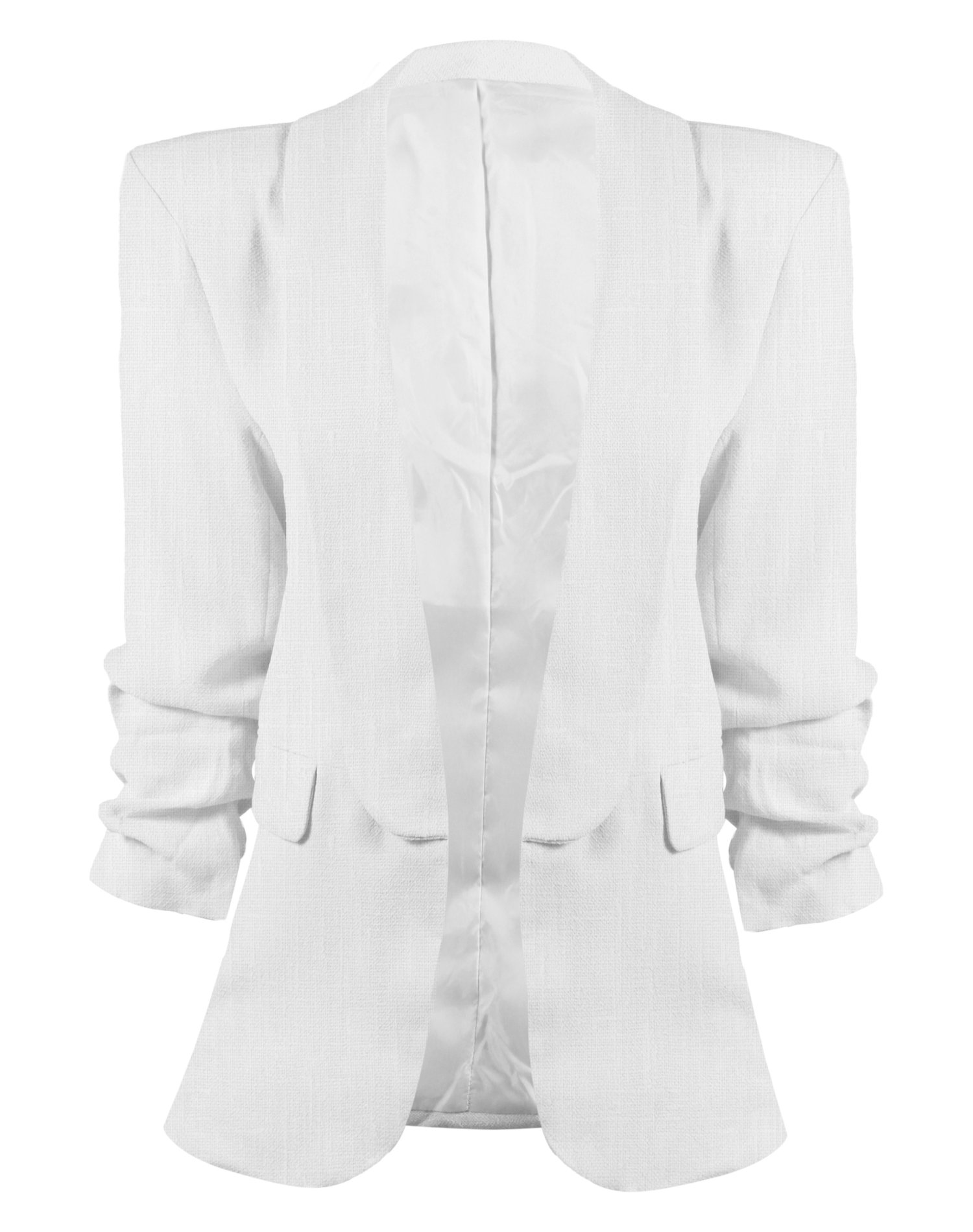 HOT FROM HOLLYWOOD Women's Lined Open Front Textured Blazer with Flap Pockets and 3/4 Shirring Sleeves