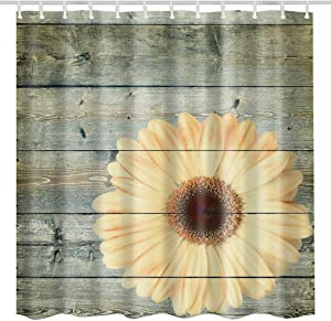 BROSHAN Country Shower Curtain Cloth, Flower on Rustic Wood Plank Vintage Blossom Polyester Waterproof Fabric Bathroom Decor Set with Hooks,72 x72 Inch