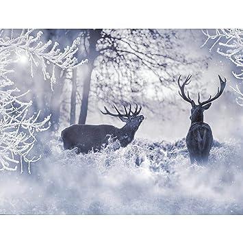 Fototapete Winter Elche Vlies Wand Tapete Wohnzimmer Schlafzimmer