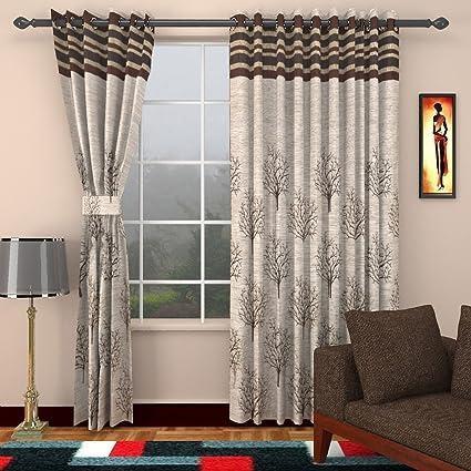 Homefab India Jute Modern 2 Piece Eyelet Polyester Door Curtain Set - 7ft, Brown