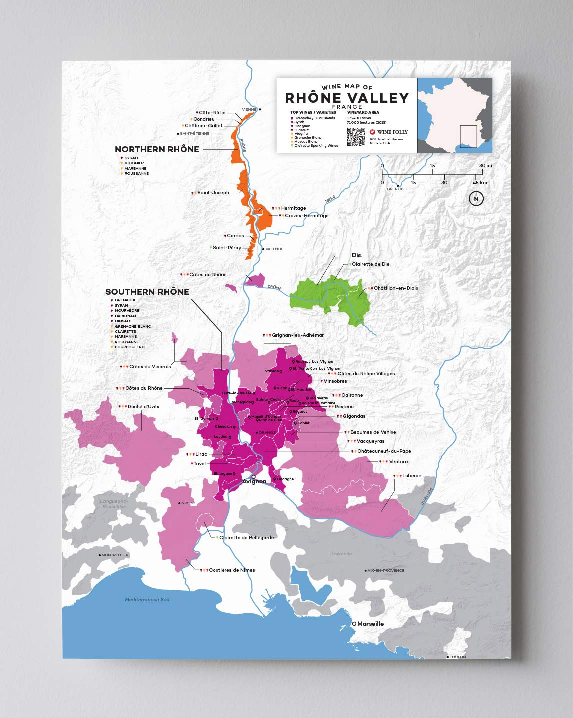 Map Of France To Print.Wine Folly France Rhone Valley Wine Map Poster Print 12 X 16