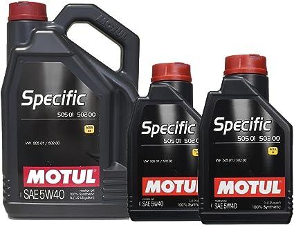 MOTUL Specific 505.01 502.00 5W-40 7 litros (1x5 lts + 2x1 lt): Amazon.es: Coche y moto