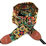 LIFEMATE Camera StrapDSLR Camera Strap Universal Neck Strap Fabric Of Bohemia Floral Scarf Camera Strap For Women (ethnic flower2)