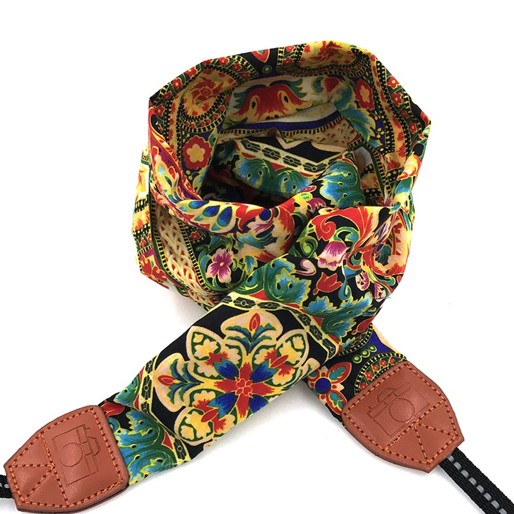 LIFEMATE Camera Strap, Flower Design And Quick Release DSLR Camera Strap Universal Neck Strap, Bohemia Flower Upgraded Cotton Scarf Camera Belt For Women(Blue And Pink Flower) 4331899584