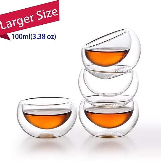 Tazas de café grandes, taza de vidrio de doble pared con asa, apto ...
