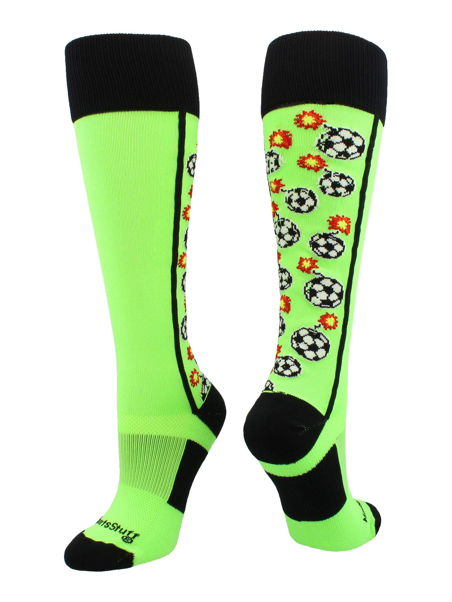 MadSportsStuff Crazy Bomber Soccer Socks (Neon Green/Black, Small)