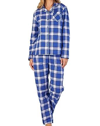 dd655aaf4a Slenderella Ladies Tartan Pyjamas Flannel Cotton Button Up Top   PJ Bottoms  UK 12 14