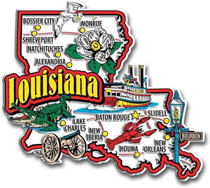 Louisiana State Jumbo Map Magnet
