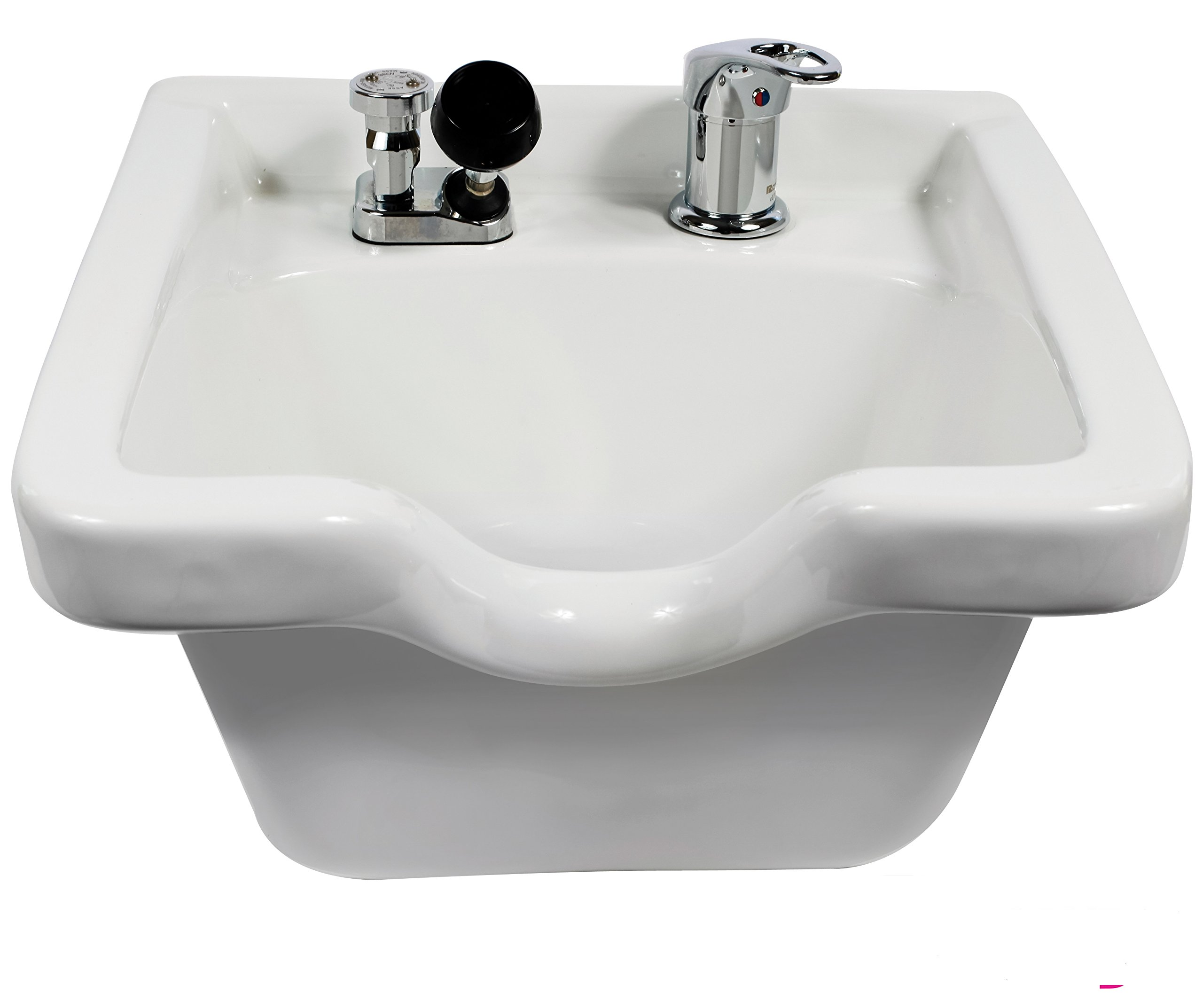Pro Hair Tools Salon Barber Porcelain Wall Mounted Square Shampoo Bowl In (WHITE) + Free Cape Co. Cutting Cape ($29 value)