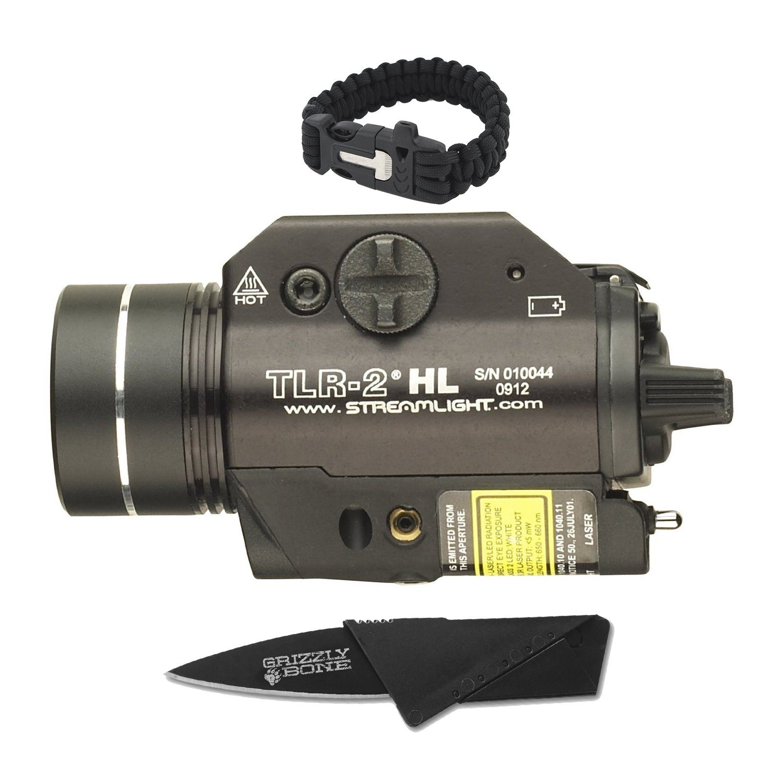 NEW Combo Pack Bright Streamlight TLR-2 HL 69261 Tactical Ultimate Flashlight For Zombie Apocalypse Camping Power Outage Survival Kit W/ Free Paracord Bracelet & Credit Card Knife Survival Life