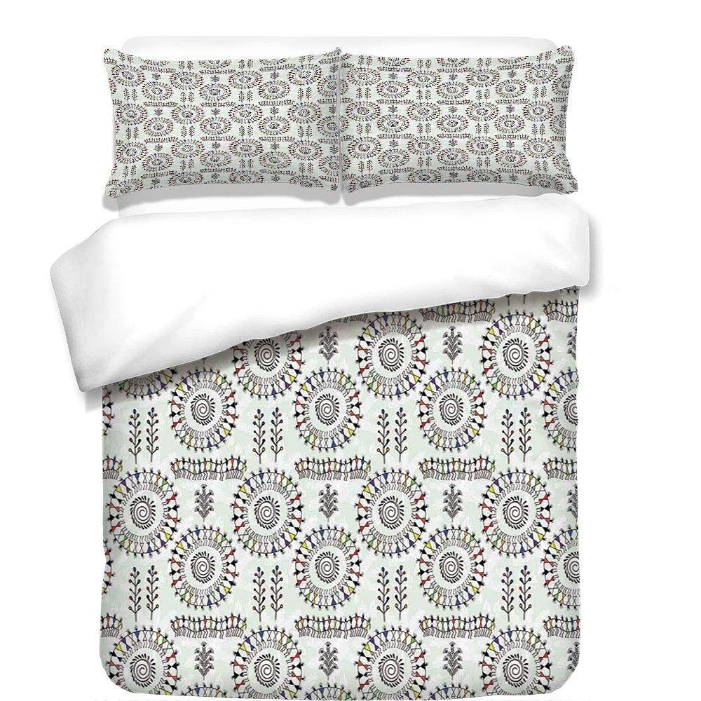 iPrint 3Pcs Duvet Cover Set,Traditional House Decor,Old African Art Tribal with Ancient Tribal Sacred Circular Dance Folk Figure Image,Multi,Best Bedding Gifts for Family/Friends