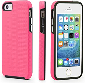 CellEver iPhone 5/5s/SE (2016 Edition) Case, Dual Guard Protective Shock-Absorbing Scratch-Resistant Rugged Drop Protection Cover for iPhone 5/5S/SE (Pink)