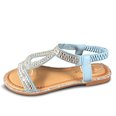 Schuhtraum Damen Sandalen Glitzer Nieten Sandaletten Riemchen Flach ST05 (37,  Blau) 08cf8a43d6