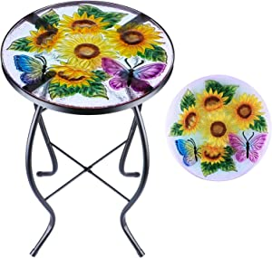MUMTOP Patio Side Table Outdoor End Table Plant Stand 14'' Round Accent Table Mosaic Glass Metal Side Table Sunflower Garden, Balcony Indoor Coffee Table
