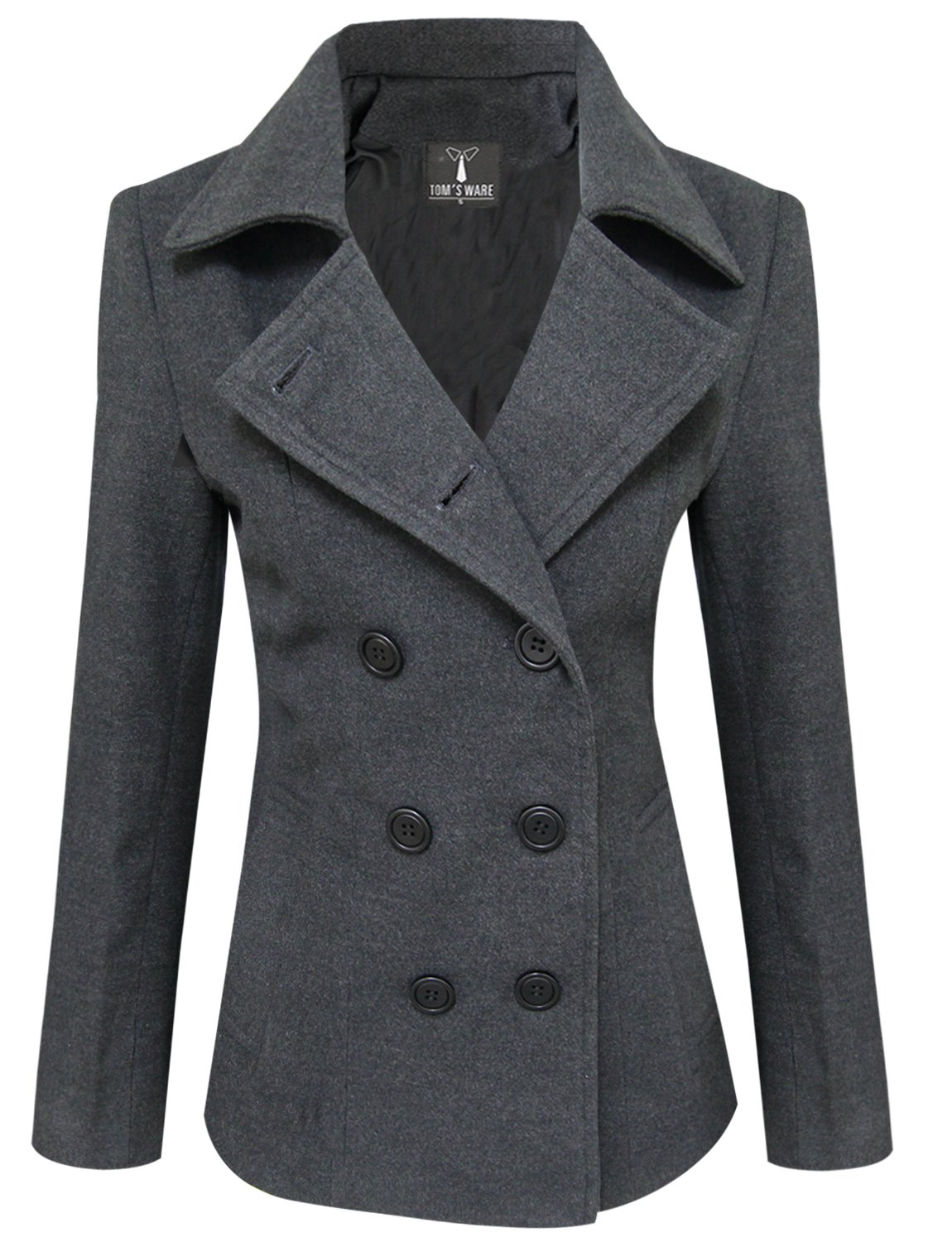Tom's Ware Womens Trendy Double Breasted Wool Pea Coat TWCWC06-CHARCOAL-L