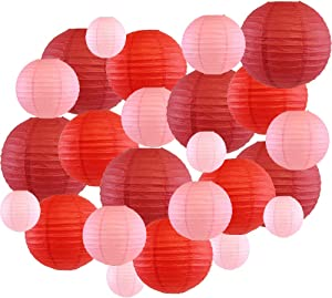 Just Artifacts Decorative Round Chinese Paper Lanterns 24pcs Assorted Sizes & Colors (Color: Reds)