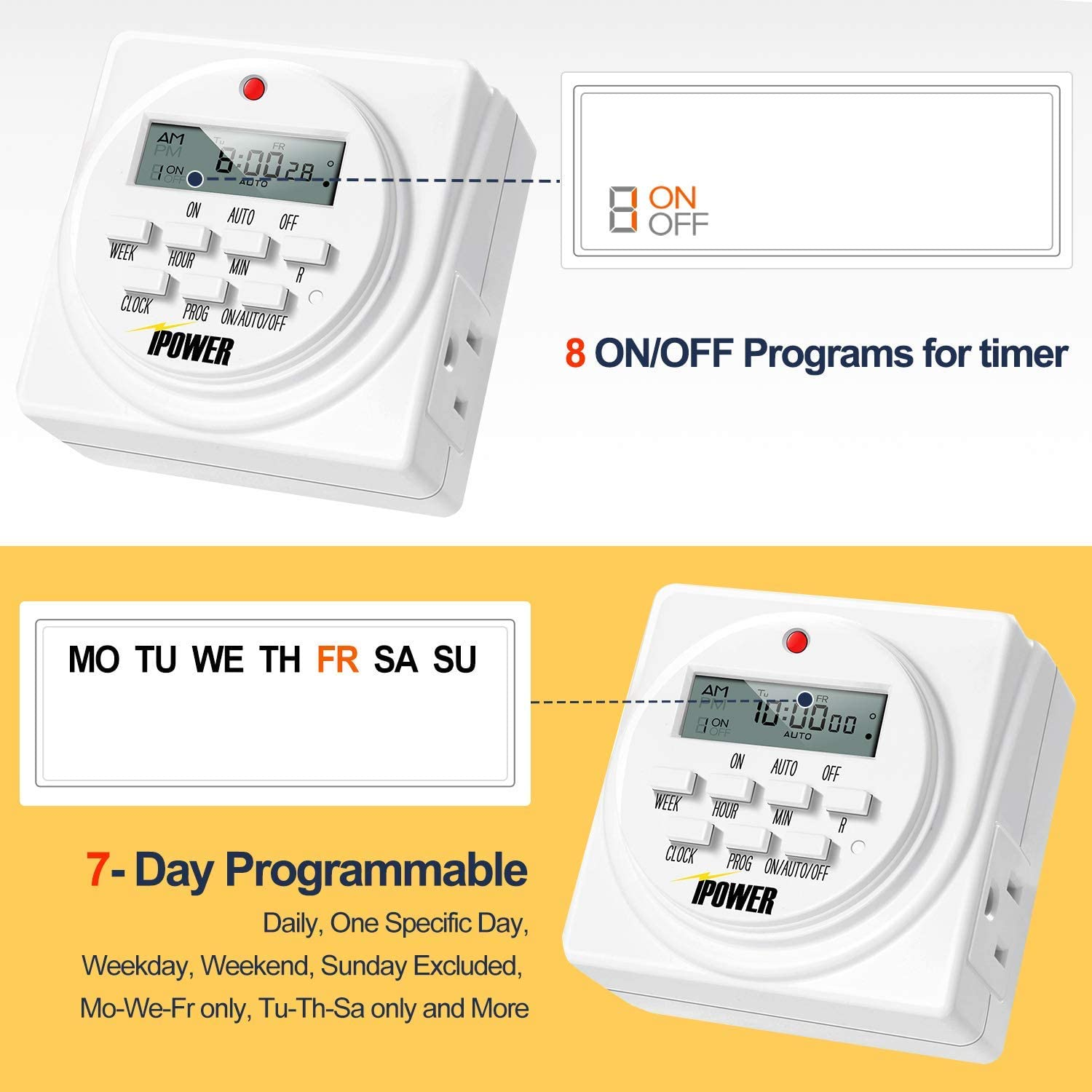 iPower GLTIMEDWEEKX2 Digital Electric Timer 2 Pack White Tools ...