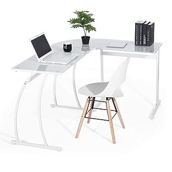 Escritorios De Oficina En L.Escritorio En L Mesa De Ordenador Esquinero Para Despacho Habitacion Juvenil O Estudio Para Hogar U Oficina Esquinero Cristal Blanco