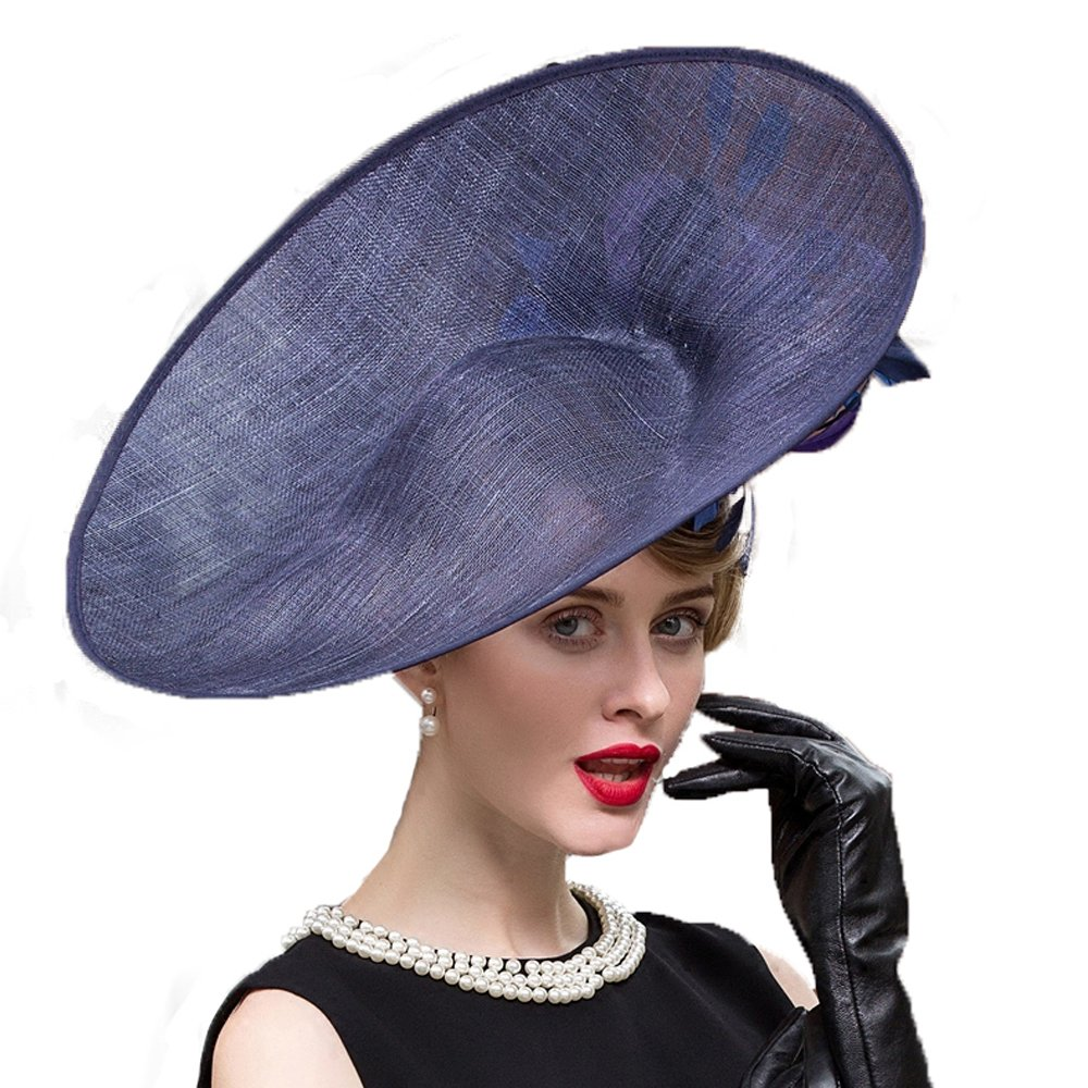 Royal Large Brim Wedding Dress Hat Fascinator Kentucky Derby Hats Feather Fedora