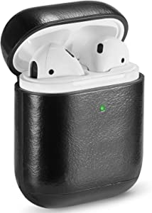 Airpods Case Cover Leather, MAPUCE Airpod Cases Leather Compatible for Apple Airpods 2&1 Case Air Pod Case Protective Front LED Visible Shockproof Drop-Proof Dust-Proof(Black)