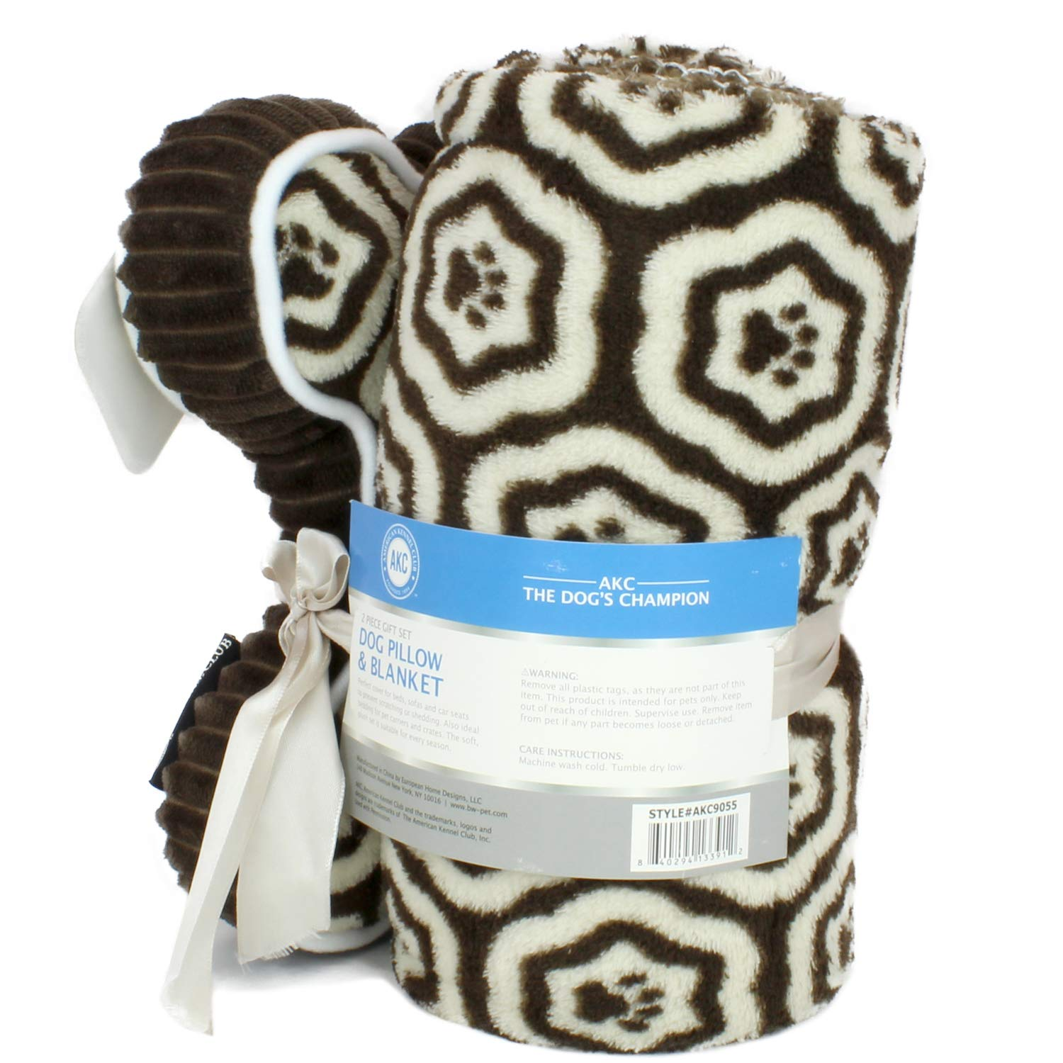 AKC Print Pet Blanket /& Pillow Gift Set 2 PC