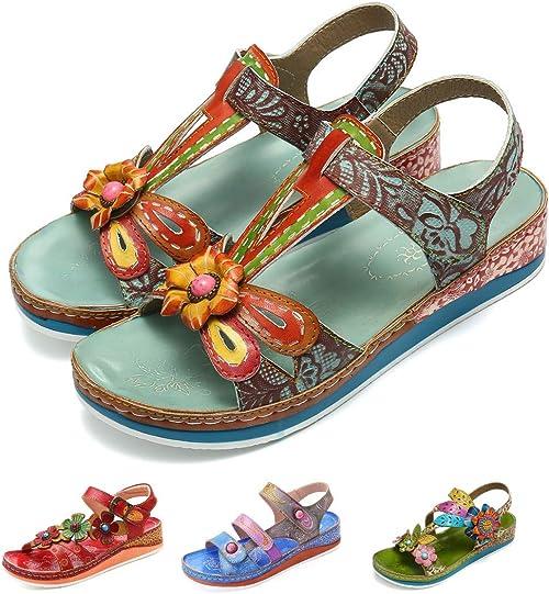 Camfosy Sandales Cuir Femmes Plates,Chaussures de Ville Marche Été Talons Plats Compensées Semelle Confortable Randonnée Réglable à Scratch pour Pieds