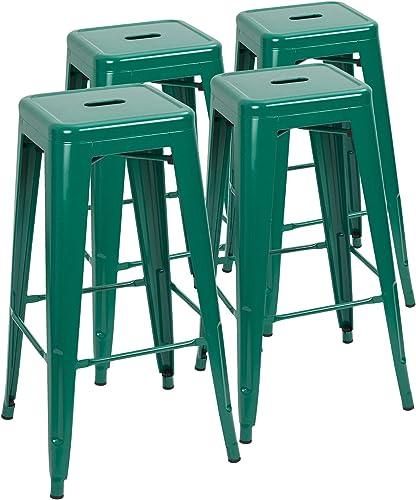 Devoko Metal Bar Stool 30'' Tolix Style Indoor/Outdoor Barstool Modern Industrial Backless Light Weight Bar Stools