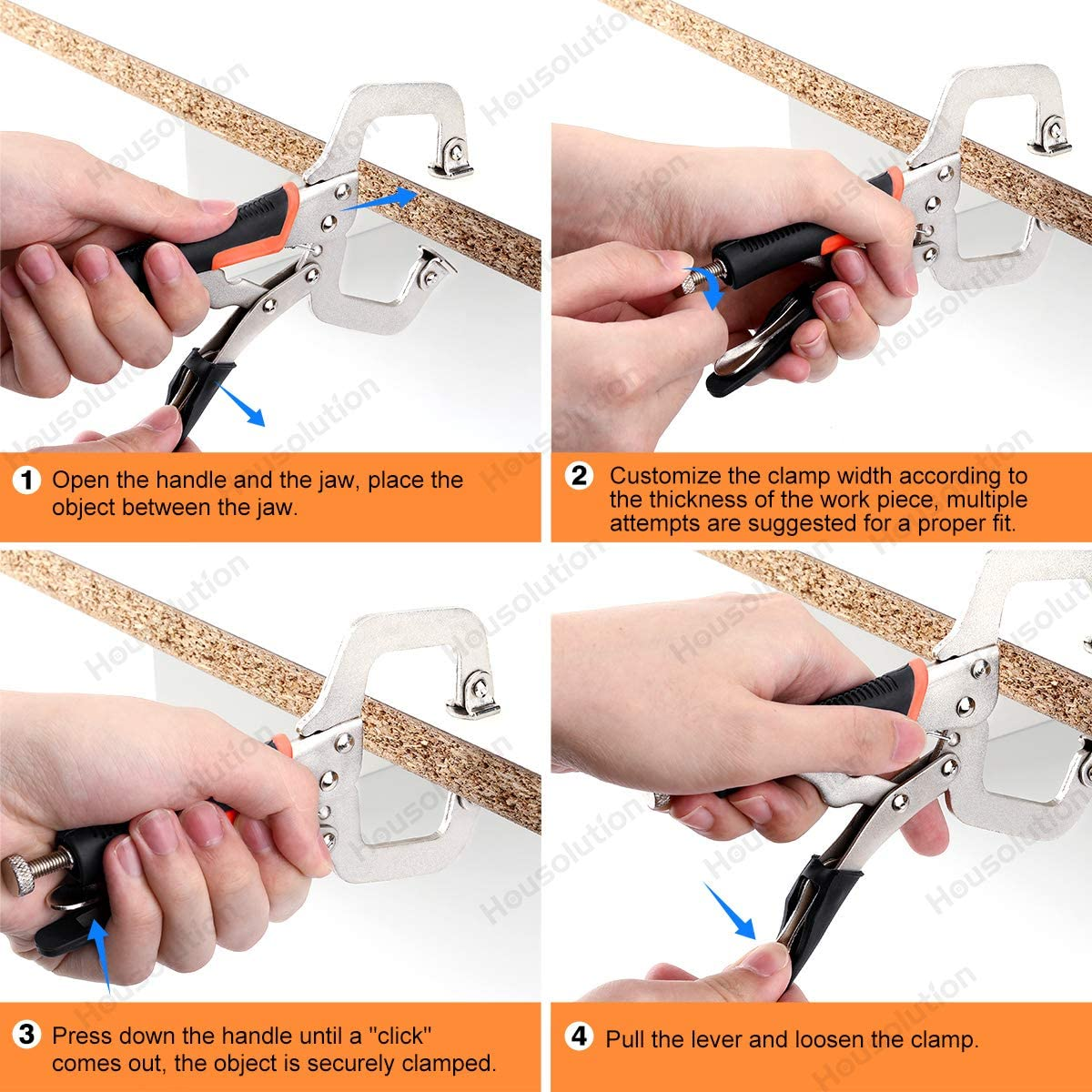 Outil de Serrage Antirouille pour Menuiserie de Bricolage dans la Maison ou lAtelier Bleu 2 PCS Kit de Pince-/Étau Robuste de 9 Pouces Jaune Housolution Serre-Joint en Forme de C,