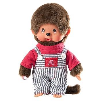 Monchhichi 23644 - Mono de peluche con peto de rayas (20 cm): Amazon.es: Juguetes y juegos