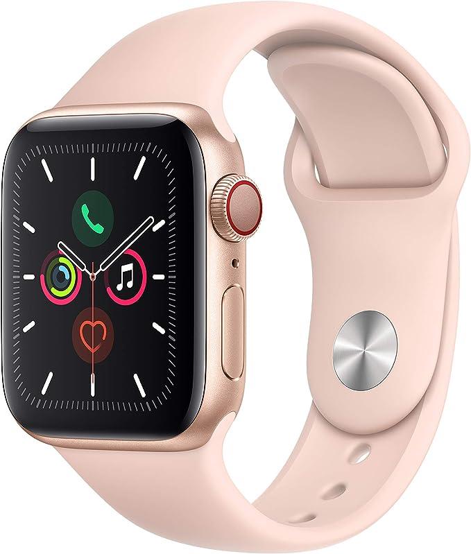 Apple Watch Series 5(GPS + Cellularモデル)- 40mmゴールドアルミニウムケースとピンクサンドスポーツバンド - S/M & M/L