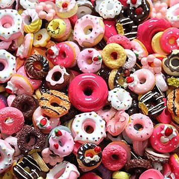 SAKUROO 20Pcs DIY Slime Supplies Accesorios Caja del teléfono Decoración para Slime Filler Miniatura Resina Cake Frutas Candy Chocolate, Donut: Amazon.es: Juguetes y juegos