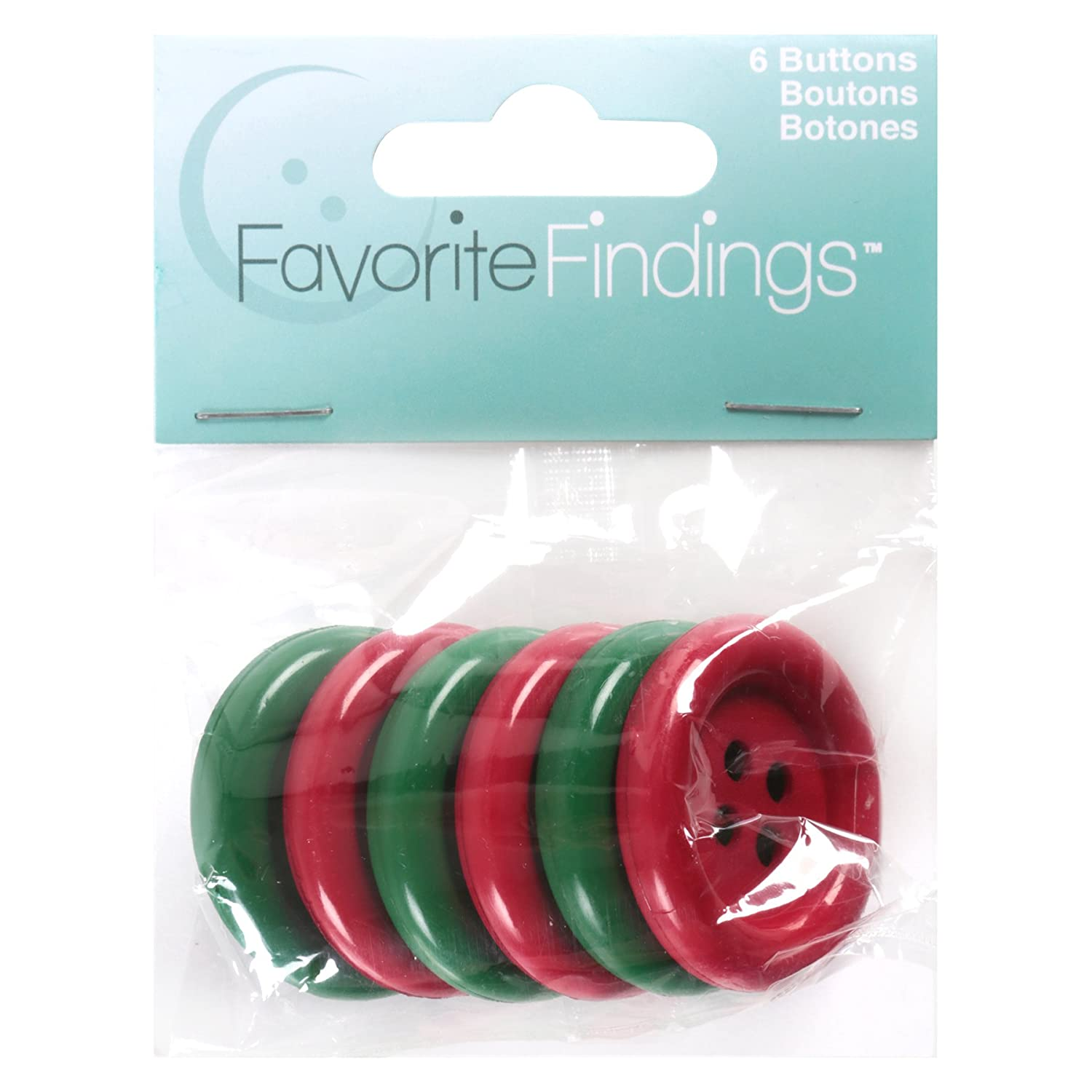 Favorite Findings Holiday Buttons-Big Christmas 6/Pkg by Blumenthal Lansing   B005P1USI8