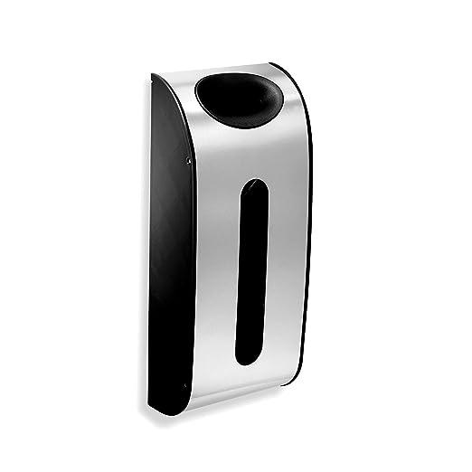Simplehuman - Soporte de pared para guardar bolsas, acero inoxidable, color plateado, negro