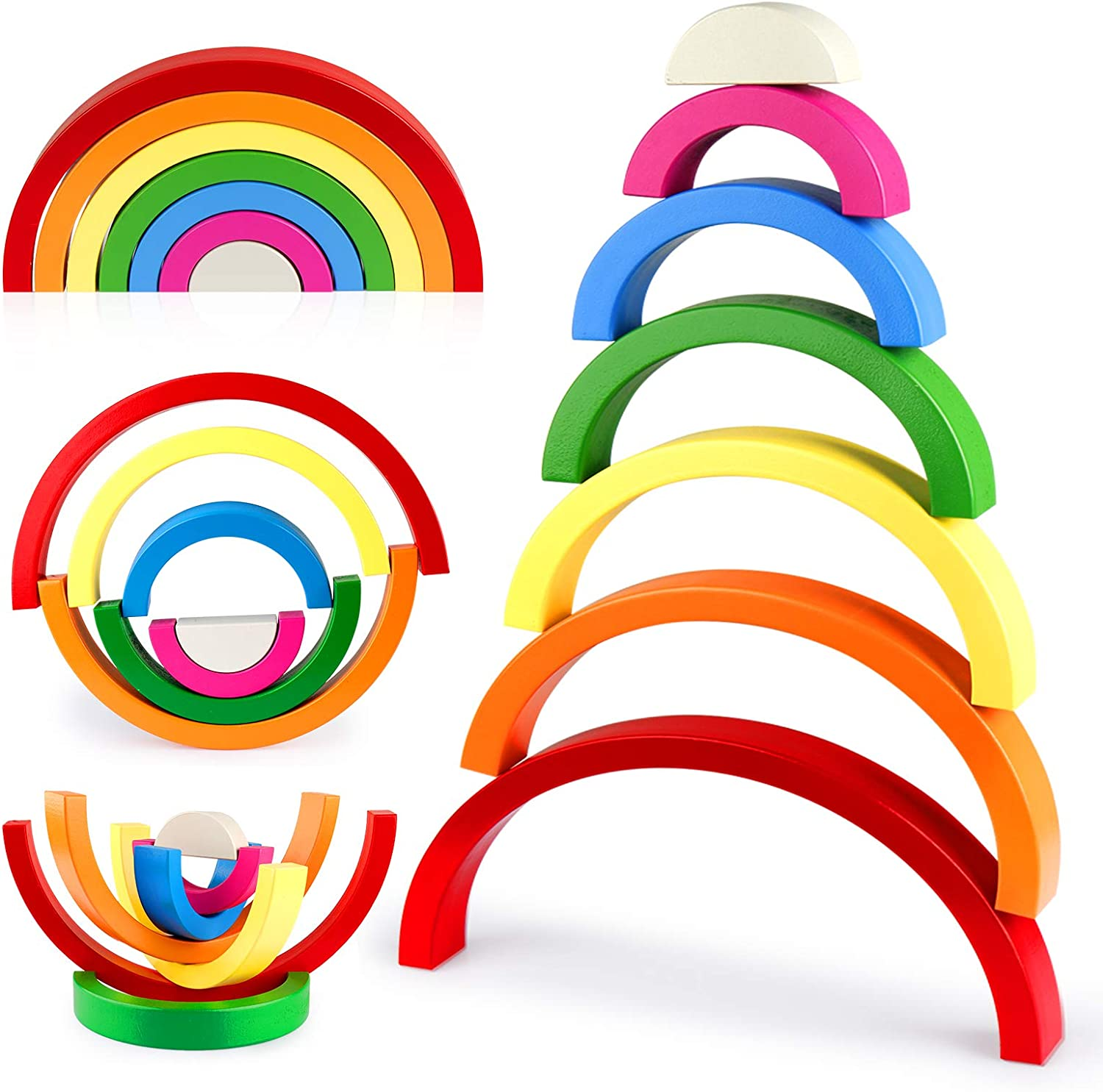 Vanmor Wooden Rainbow Stacker Toy, Wood Stacking Rainbow Puzzle Nesting Blocks, Educational Montessori Color Shape Sorting Game Fine Motor Skills Toys Gift for Kids Baby Toddlers